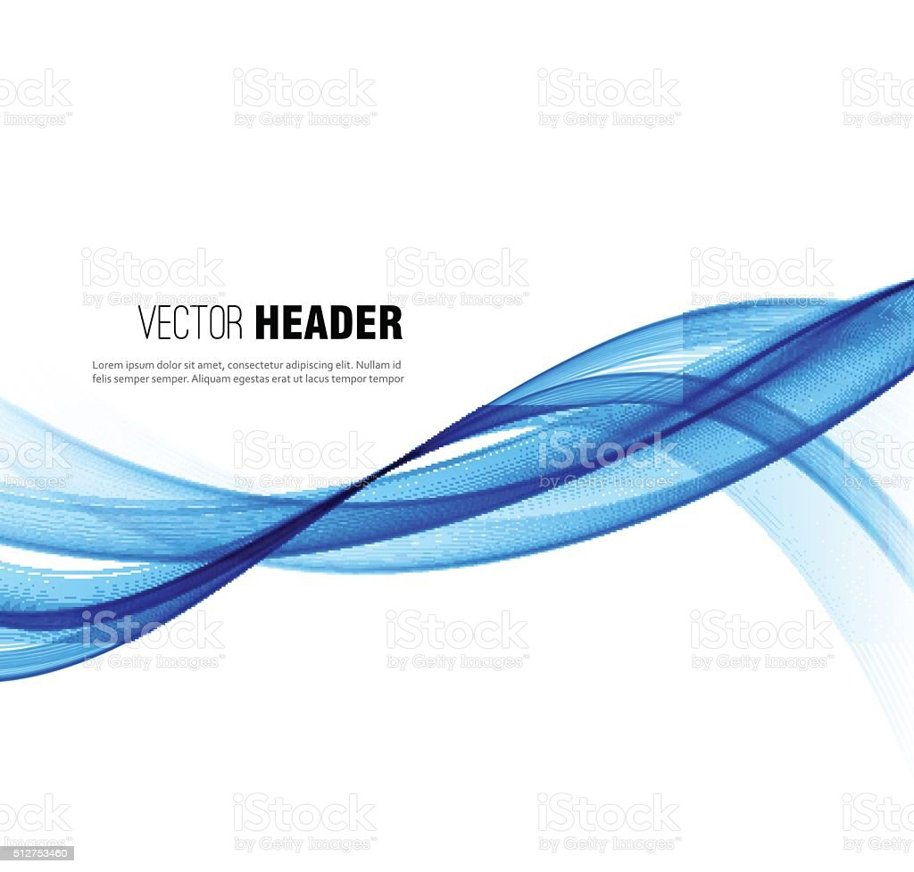 Abstract vector wave background. Blue smoke line vector art illustration