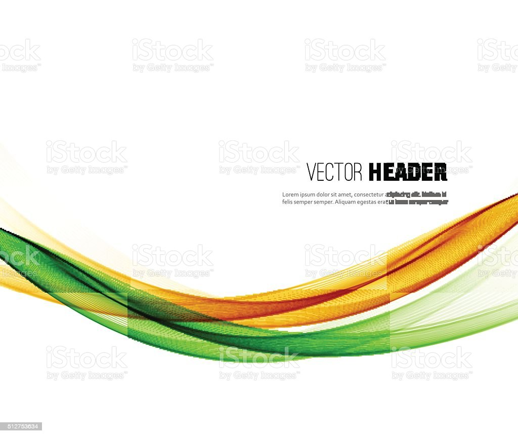 Abstract vector wave background. Green and orange smoke line vector art illustration