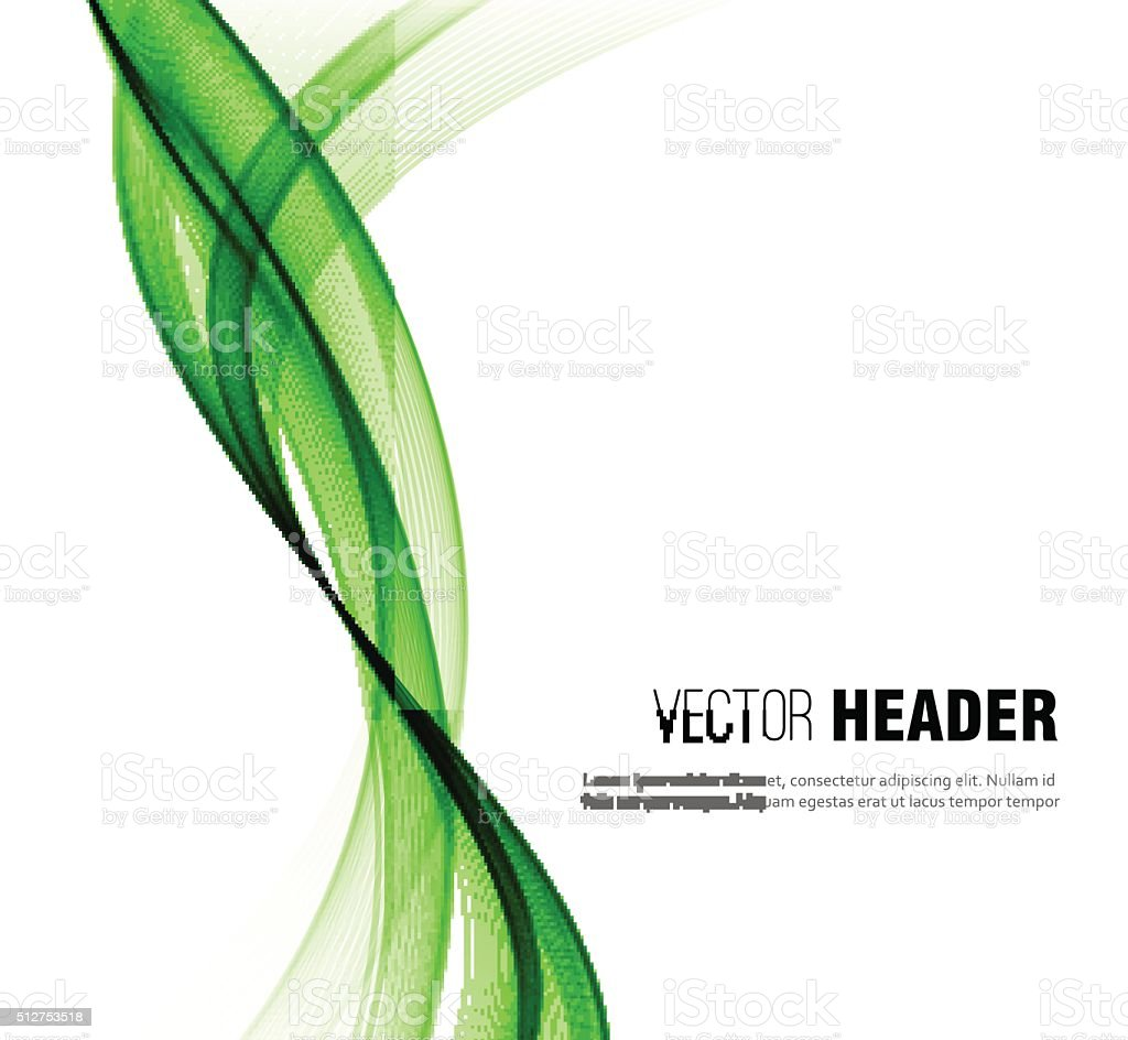 Abstract vector wave background. Green smoke line vector art illustration