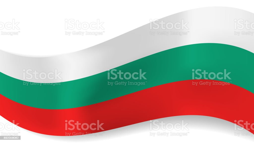 Abstract vector wavy bulgarian flag background vector art illustration