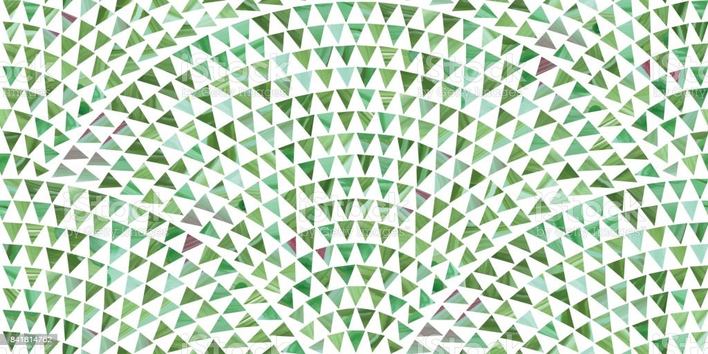 Abstract vector wavy seamless geometrical pattern from small triangles  with green brush stroke  texture on a white background. Floor tile, wallpaper, wrapping paper, page fill in ceramic mosaic style vector art illustration