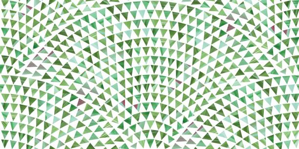 abstract vector wavy seamless geometrical pattern from small triangles  with green brush stroke  texture on a white background. floor tile, wallpaper, wrapping paper, page fill in ceramic mosaic style - tile pattern stock illustrations, clip art, cartoons, & icons