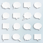 Abstract vector white speech bubbles set, paper art style