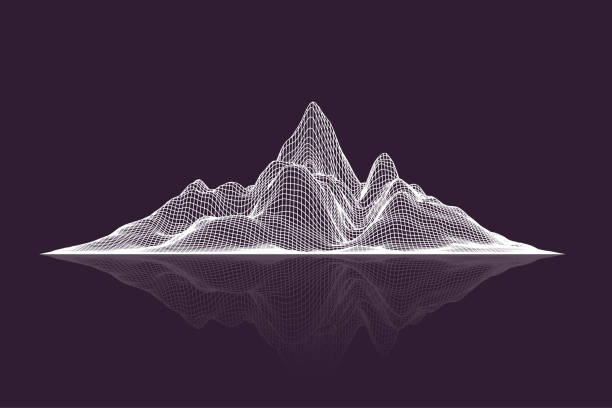 Abstract vector wireframe mesh mountains with reflection, front view Abstract vector wireframe mesh mountains with reflection, front view land feature stock illustrations
