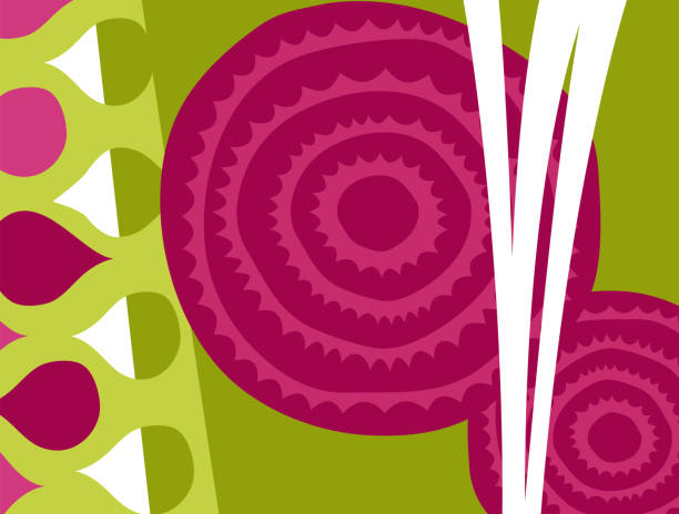 Abstract vegetable design in flat cut out style. Cross section of beets. vector art illustration