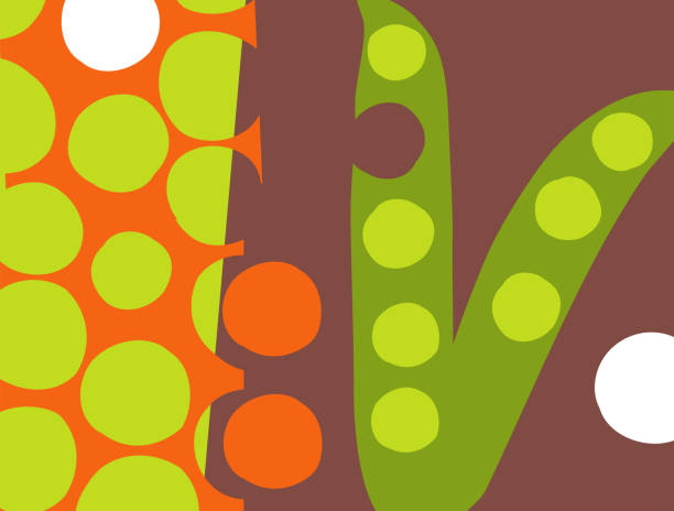 Abstract vegetable design in flat cut out style. Peas in the pod. vector art illustration