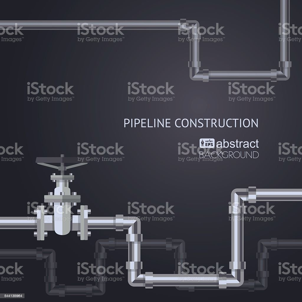 Abstract vertical background with flat designed pipeline vector art illustration