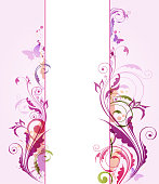 Abstract violet vector floral background with butterflies and leaves