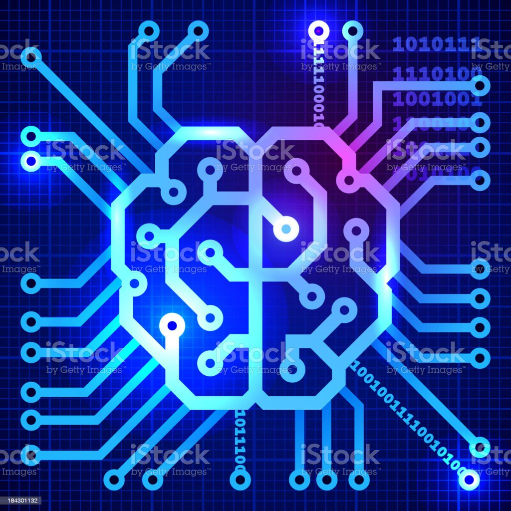 Abstract view of cyber brain in blue squares vector art illustration