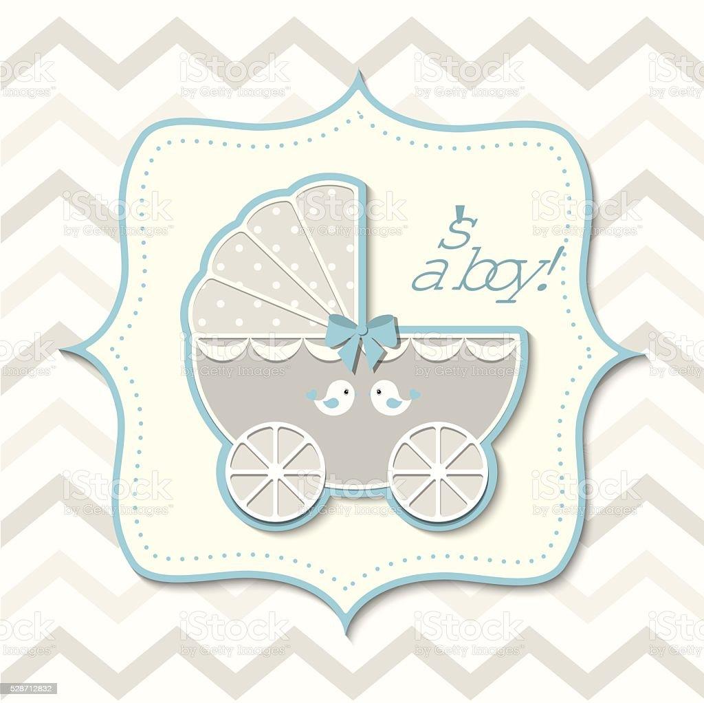 Tło Vintage Chłopiec Wózek Dziecięcy Dziecko Prysznic Stockowe