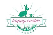 vintage happy easter bunny badge with text ribbon
