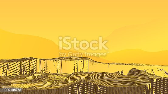 Abstract colorful engraving drawing vintage rocky cliff  canyon ground vintage style isolated on yellow blank space background