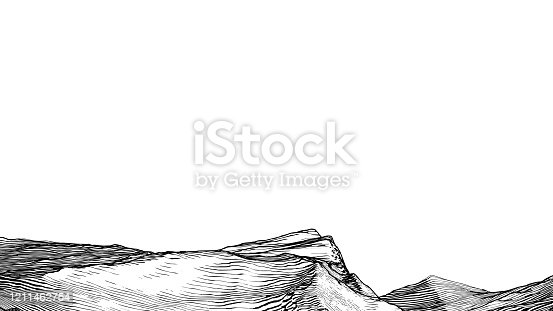 Abstract monochrome engraving drawing vintage rocky cliff  canyon or desert ground vintage style isolated on white blank space background