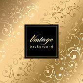 Vector vintage gild card with seamless damask pattern  EPS 10