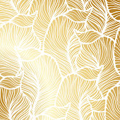 Vector vintage gold card with seamless damask pattern  EPS 10