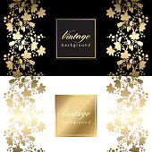 Vector vintage card with gold floral pattern  EPS 10