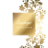 Vector vintage white invitation  card with gold floral pattern  EPS 10