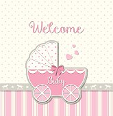pink vintage stroller on abstract background in srapbooking style, baby shower, vector illustration, eps 10 with transparency