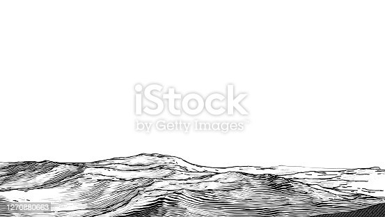 istock Abstract vintage woodcut printing physical geography foreground stock 1270880663