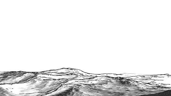 Abstract monochrome engraved drawing rough rocky sand ground vintage woodcut style foreground landscape isolated on white blank space background