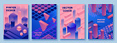 Abstract violet isometric posters set in trendy purple color with geometric 3d shapes, brochure collection, futuristic background, colorful bright vector illustration, cover, print