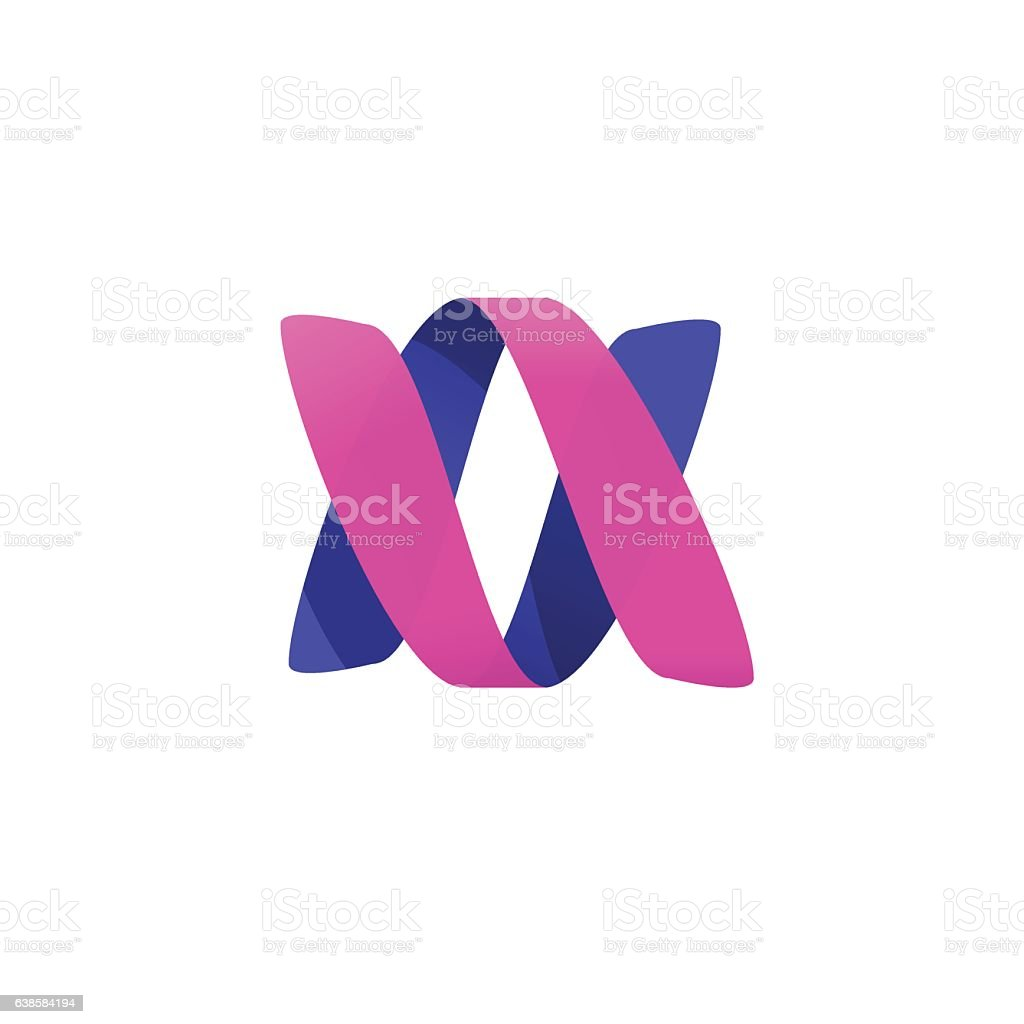 Abstract violet pink color ribbon spiral helix vector logotype