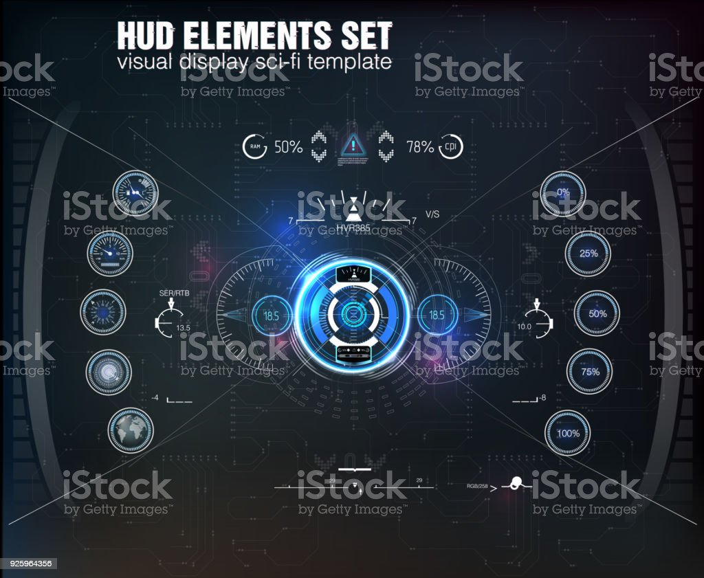 HUD UI. Abstract virtual graphic touch user interface. Infographic. Vector science abstract.  Vector illustration. vector art illustration