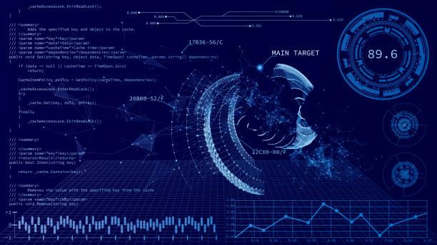 illustrations, cliparts, dessins animés et icônes de hud ui. interface utilisateur tactile graphique virtuelle abstraite. infographie de l'interface utilisateur de hud. contexte de la technologie. - infographie visualisation de données