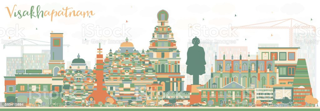 Abstract Visakhapatnam Skyline with Color Buildings. abstract visakhapatnam skyline with color buildings - arte vetorial de stock e mais imagens de amarelo royalty-free