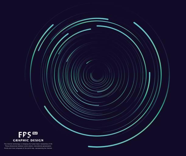 illustrazioni stock, clip art, cartoni animati e icone di tendenza di abstract vortex, circular swirl lines. star trails around in the night sky. - motivo concentrico