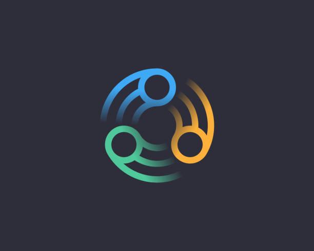 stockillustraties, clipart, cartoons en iconen met abstract vortex spin logo pictogram ontwerp abstracte moderne minimale kleurovergang lijn kunst illustratie. zon bloem swirl kleurrijke vector embleem teken symbool merk logo voor donkere achtergrond - bloemen storm