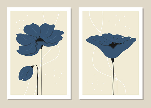 Abstract wall art with flowers. Vector set. Great decoration for book covers and walls.