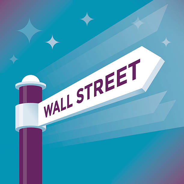 Abstract Wall Street arrow sign. NYSE and NASDAQ concepts. Abstract Wall Street arrow sign.  wall street stock illustrations