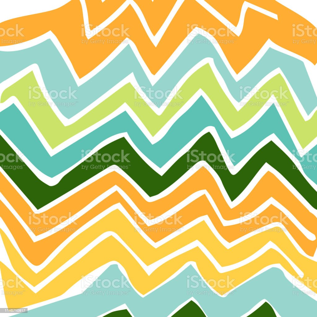 Abstract Wallpaper With Yellow Green And Blue Zigzag Stock