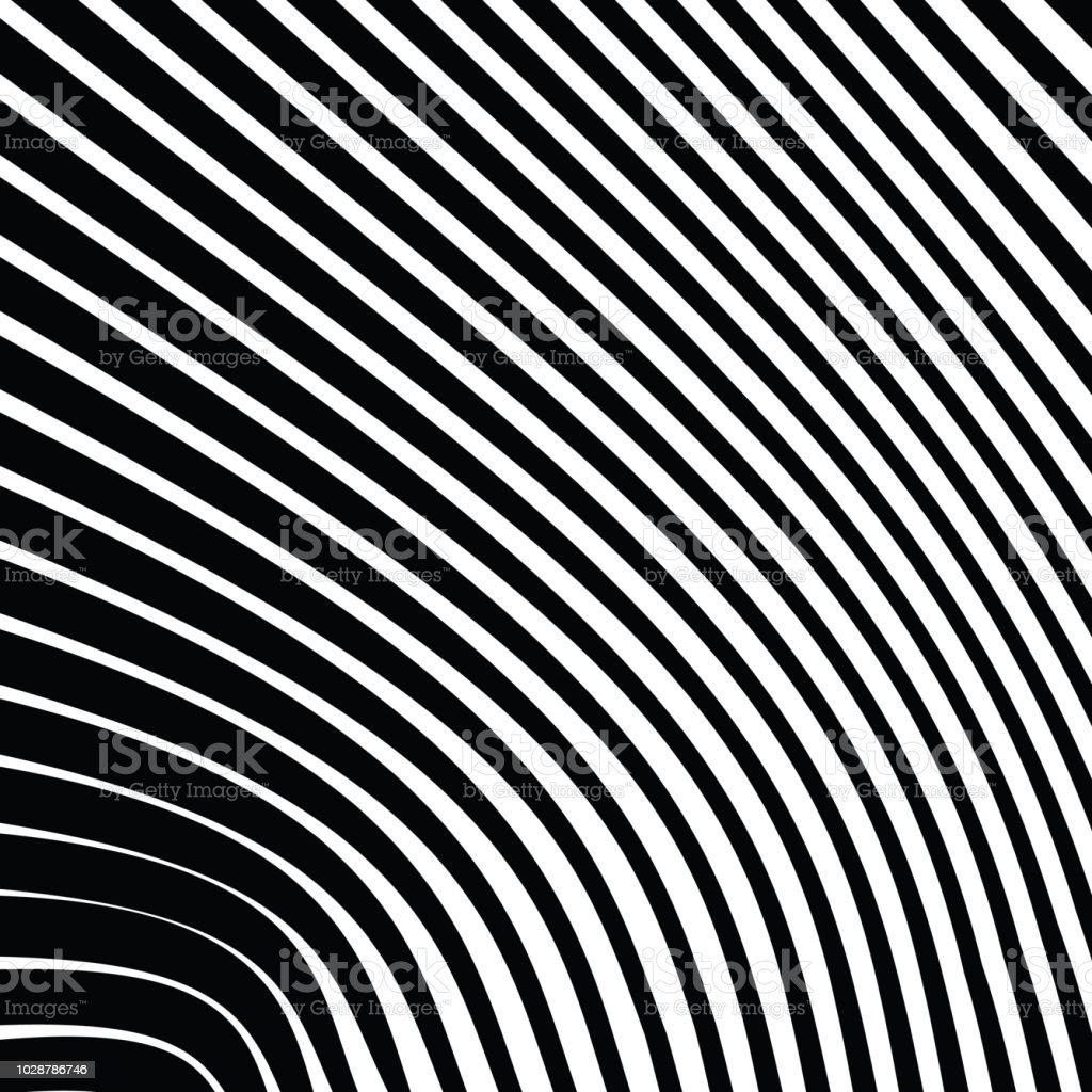 Abstract Warped Black and White Lines Background vector art illustration