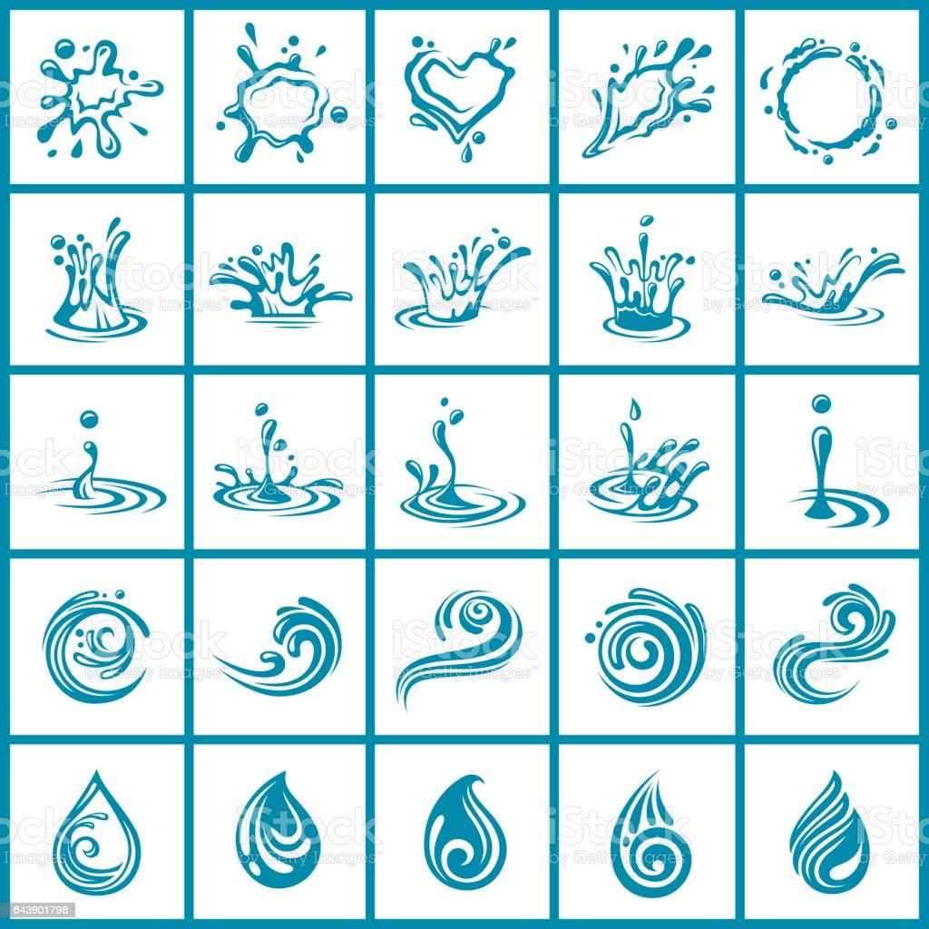 abstract water icons set vector art illustration