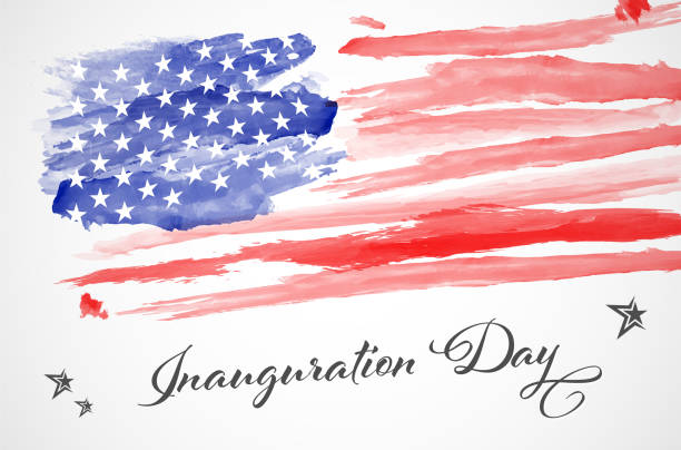 Abstract watercolor american flag - Inauguration day Abstract watercolor american flag - Inauguration day. Vector illustration. inauguration stock illustrations