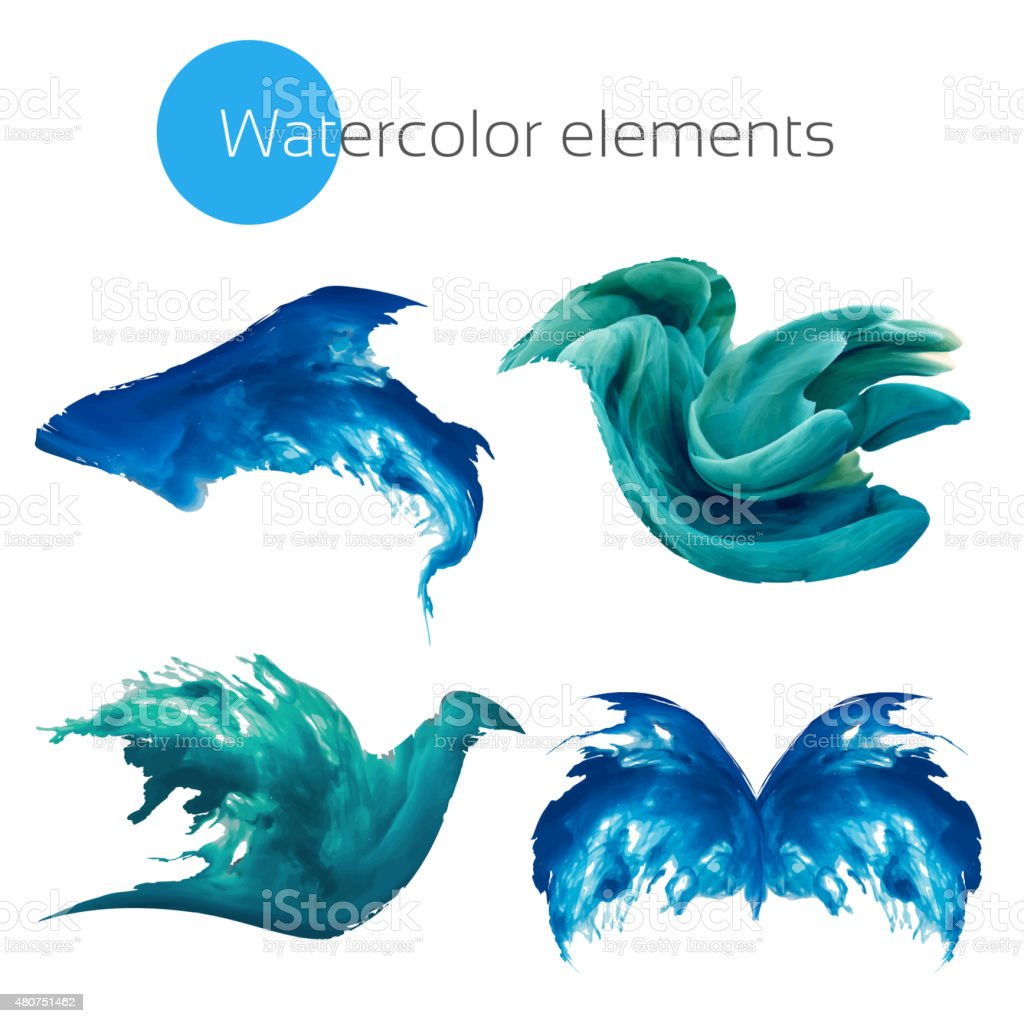 Abstract watercolor animals vector art illustration
