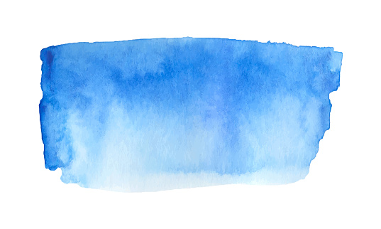Abstract watercolor blue hand drawn textured stain, isolated on white background, vector illustration