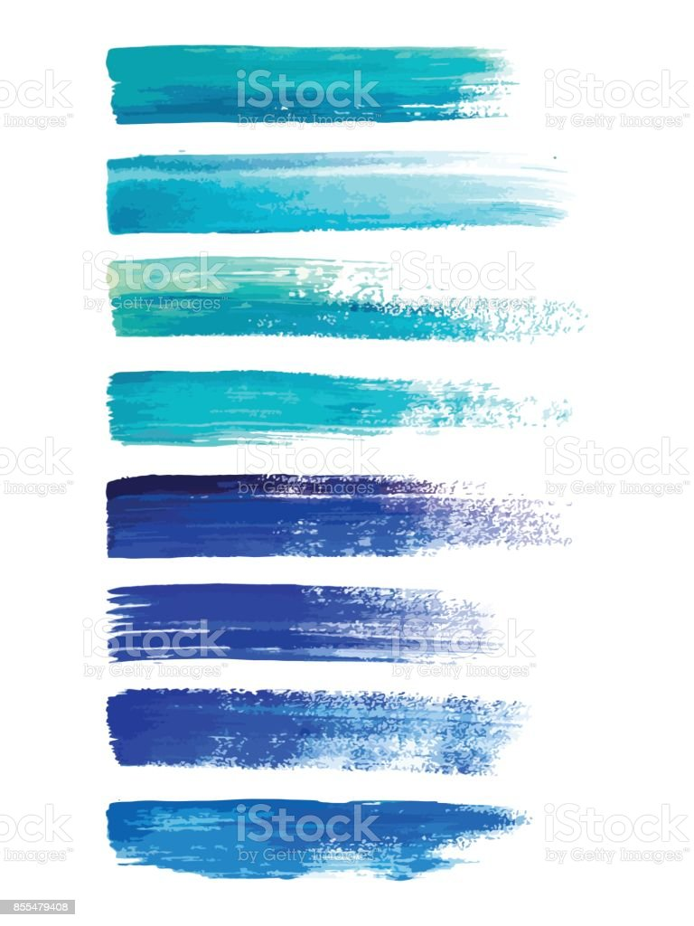 Abstract watercolor brush strokes isolated on white, creative illustration,fashion background. Vector vector art illustration