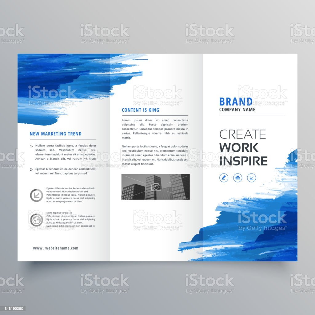 abstract watercolor business trifold brochure design template vector art illustration