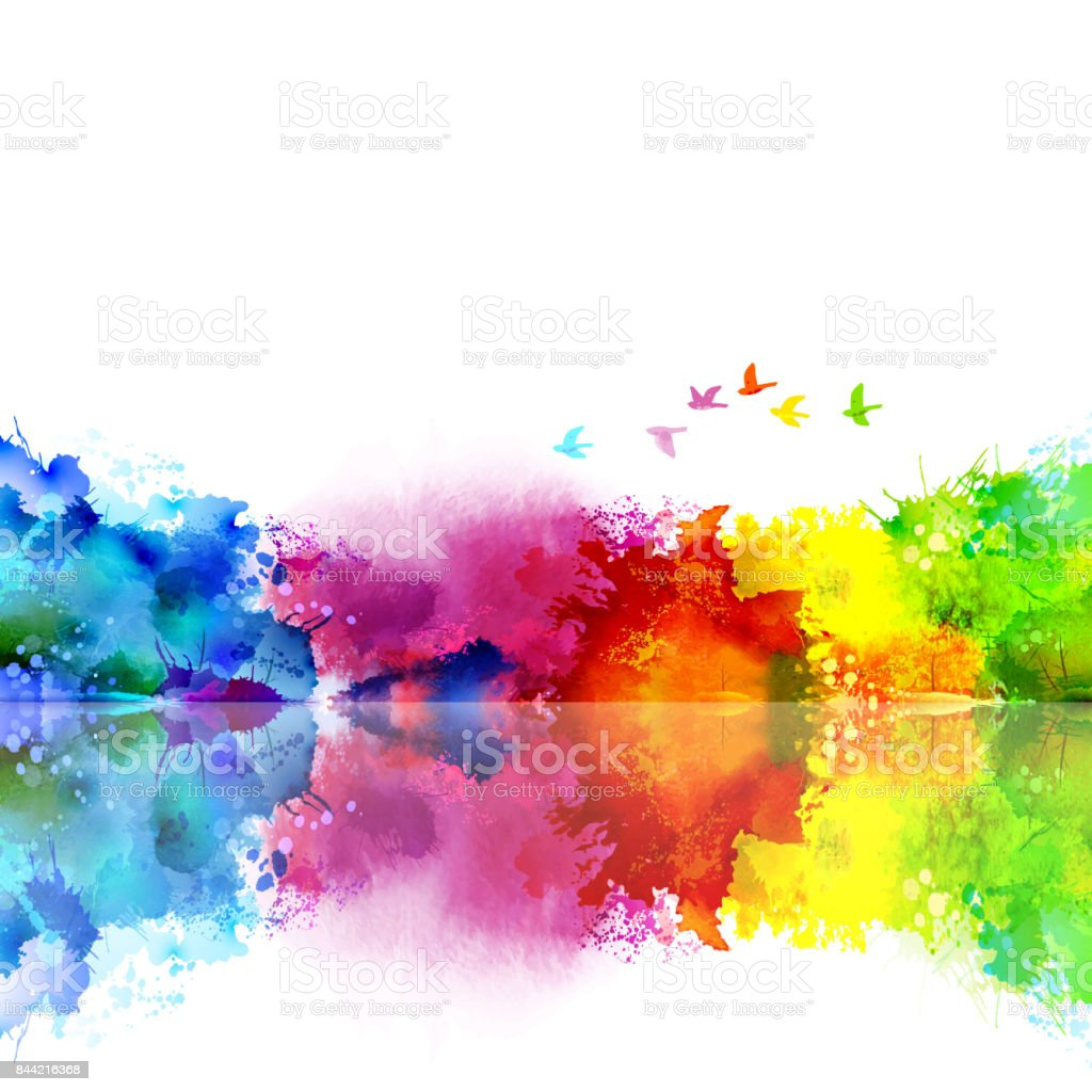 Abstract Watercolor fantastic landscape with a flying flock of birds. Calm lake created colored blotches and spots. royalty-free abstract watercolor fantastic landscape with a flying flock of birds calm lake created colored blotches and spots stock illustration - download image now