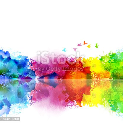 istock Abstract Watercolor fantastic landscape with a flying flock of birds. Calm lake created colored blotches and spots. 844216368