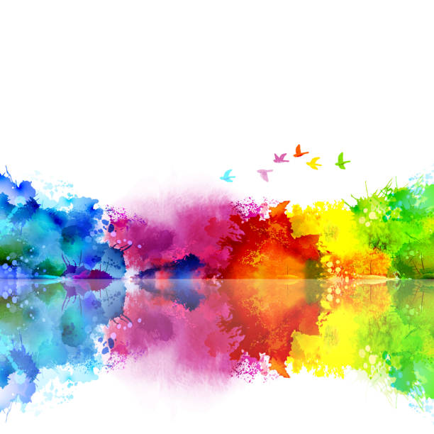abstract watercolor fantastic landscape with a flying flock of birds. calm lake created colored blotches and spots. - color image stock illustrations