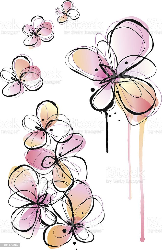 abstract watercolor flowers, vector royalty-free abstract watercolor flowers vector stock vector art & more images of abstract