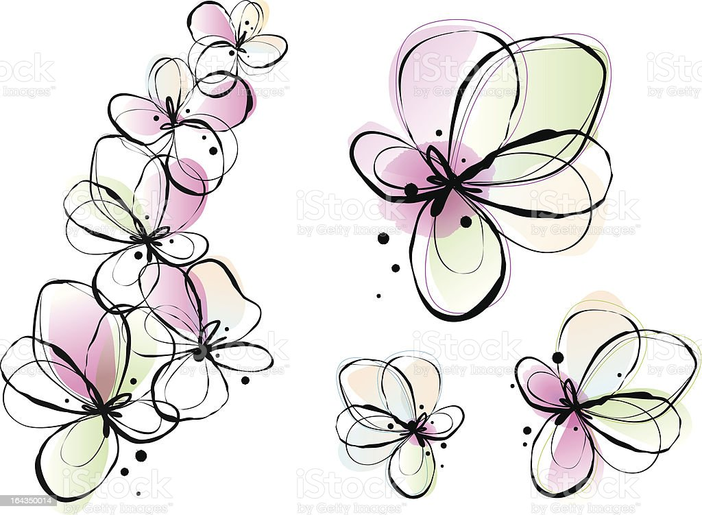 abstract watercolor flowers, vector royalty-free stock vector art