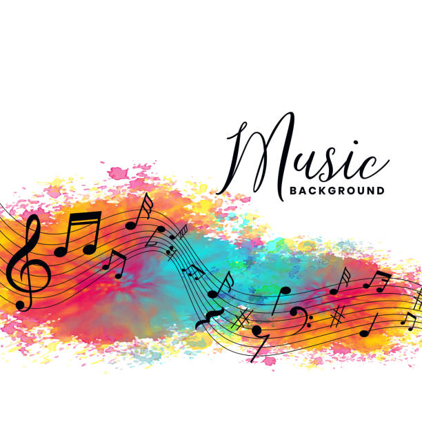 abstract watercolor music background with notes symbols - koncert muzyki klasycznej stock illustrations