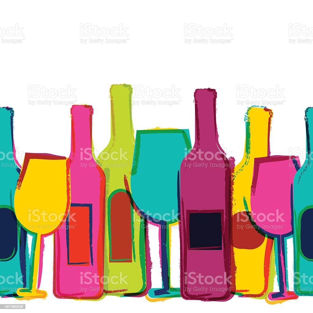 Abstract watercolor seamless background, colorful wine bottles and glasses. vector art illustration
