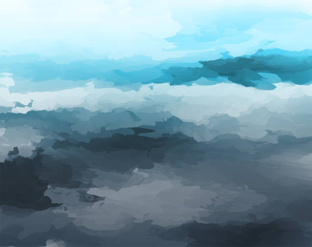 abstract watercolor style cloudy landscape background abstract watercolor style cloudy landscape background impressionism stock illustrations