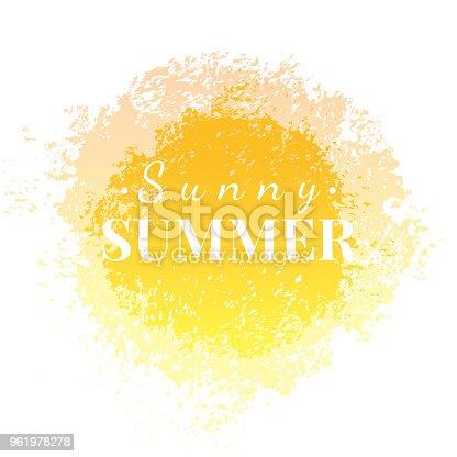 Abstract watercolor sunny summer grunge background, isolated on white. Artistic modern sunlight design element banner, vector illustration. Hand drawn art, yellow sun splash pattern template.